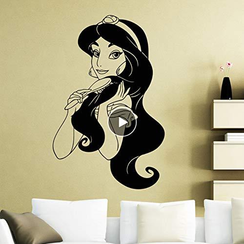 Dwqlx Prinzessin Jasmin Vinyl Wandaufkleber Kinderzimmer Cartoon Hero Abnehmbare Aufkleber Wohnzimmer Schlafzimmer Dekoration 57 * 88 Cm