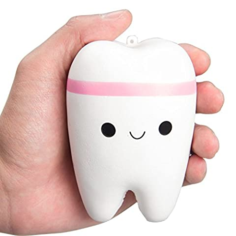 Squishy Teeth Toy, Chickwin Kawaii Teeth Slow Rising Cute Squeeze Stress Relief Toy (Pink)