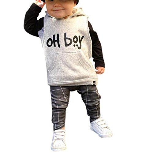 Hffan Kleinkind Säugling Baby Girl Boy Kleidungsset Mode Brief Drucken Warm Kapuzenoberteile + Lange Hose Outfits Einfarbig Kapuzenpulli Freizeitbekleidung (1-4 Jahre alt) (4 Jahre alt) (1 2 Jahre Alt Halloween Kostüme Uk)