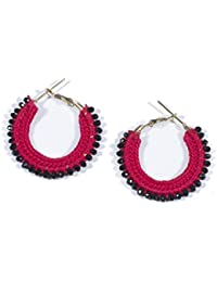 Anetra Chand Bali Earrings for Women (Red)(ads_088)