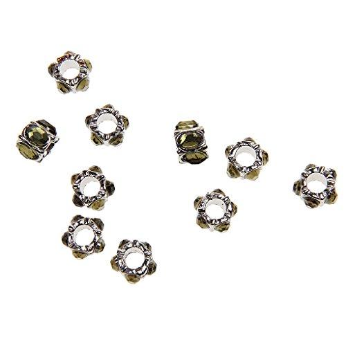 10pcs Accessoire de Bricolage Pendentif Bracelet Strass Charmes10mm Vert