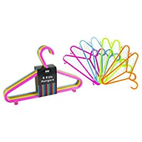 Pack of 8 Kids Hangers 4 Bright Colours Baby Child Coloured Plastic Coat Clothes