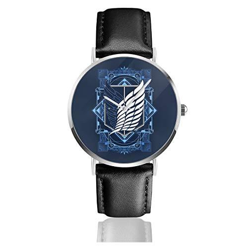 Unisex Business Casual Attack On Titan Art Deco Uhren Quarz Leder Armbanduhr mit schwarzem Lederband für Männer Frauen Young Collection Geschenk