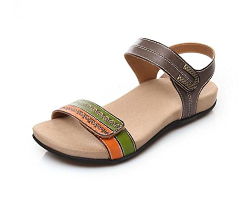 Coole Open Toe Sandalen Bequeme Flache Mit Leder Damenschuhe , brown , 39