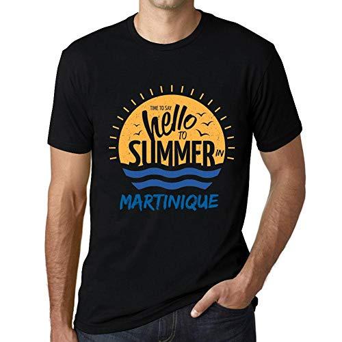 Herren Grafik Tee Shirt Time to Say Hello to Summer In Martinique Noir Schwarz -
