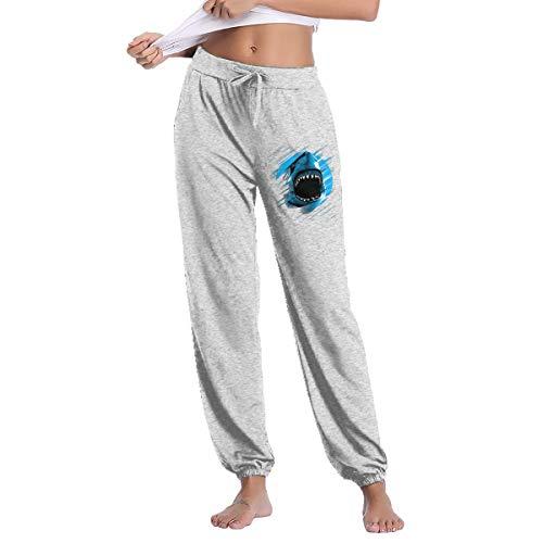 LihaiLe Shark Moon Lines Women's Long Pockets Pants Gray