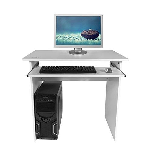 Mari Home - Oxford Bianco Scrivania per ufficio computer Scaffale Ripiani computer desk angolare Tavolo per Computer con ripiano tastiera