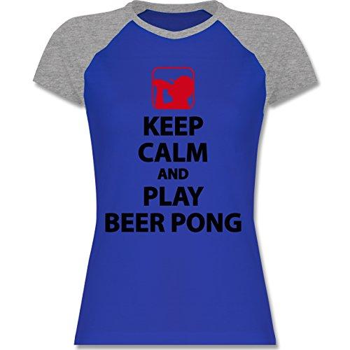 Festival - Keep Calm And Play Beer Pong - zweifarbiges Baseballshirt / Raglan T-Shirt für Damen Royalblau/Grau meliert