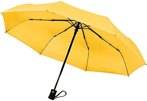 Parapluie de voyage coupe-vent 60km/h Fermeture et ouverture automatique Compact, Jaune clair (noir) - TU-200