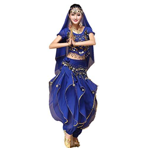 Geilisungren Aladdin Kostüm Damen Bauchtanz Kostüm Blau Karnevalkostüm Oberteil Schleier Hüfttuch Hose Volkstanzkostüm Tanzkostüm Pailletten Top Rüschen Hosen Set (Cool Sexy Kostüm)