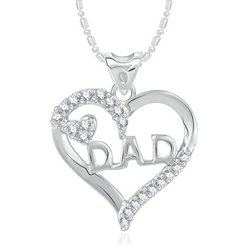 V. K. Jewels VK Jewels Dad Rhodium Plated Alloy CZ American Diamond Pendant With Chain for Men & Women [VKP2399R]