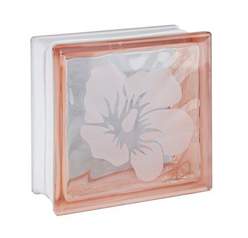 1pieza cristal bloques ladrillos Wave rosa de cristal con diseño de