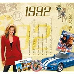 1992 Geburtstag Geschenke - 1992 Chart Hits CD und 1992 Geburtstagskarte