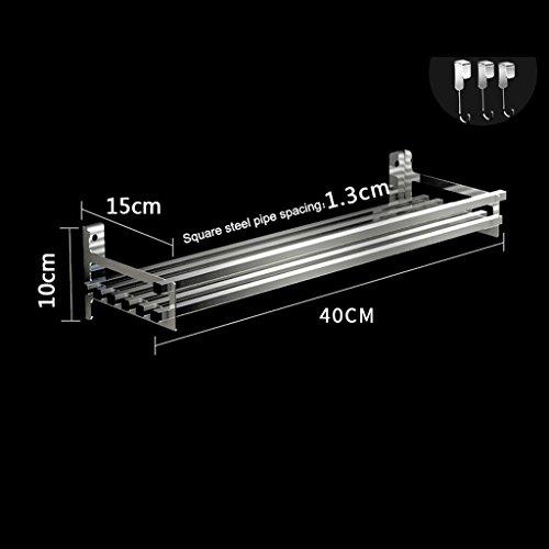 BOBE SHOP- Entrepôts de stockage d'ustensiles de cuisine/étagères / étagères de rangement d'acier inoxydable de 304 avec 3 crochets/étagères (taille : 40 cm)