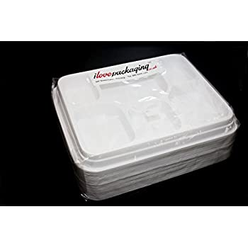 50 WHITE PLASTIC 6 COMPARTMENT SECTION DISPOSABLE FOOD TRAYS PLATE ...