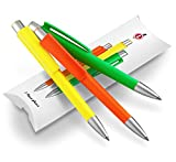 Kugelschreiber Set, 3x Kuli in knalliger Neonfarbe: neongelb, signalorange, grün - swiss made Schreibset Geschenk - Dein Pen