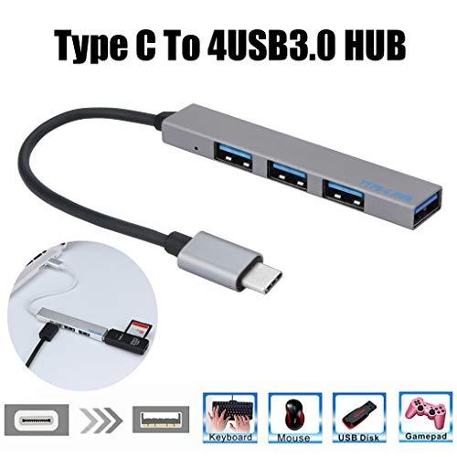 Type-C Hub Adapter ,4-in-1 Premium USB C Datenhub 4 Port USB 3.0 Hub für 10 / 100 / 1000 Mbps, kompatibel für 2016/2017/2018 MacBook Pro Google Pixel und Anderen USB C Geräte und viele mehr (Graues) Pixel-10 Einheiten