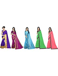 Florence Art Silk with Blouse Piece Saree (Pack of 5) (FL-Combo5_10_Multicolour_One Size)
