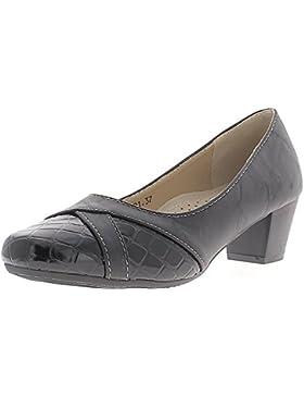 Pompe di donna nera a piccole tacchi 4,5 cm confortevoli bi materiale