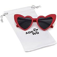 ADEWU Gafas de sol en forma de corazón Chicas Gafas retro de moda para mujer