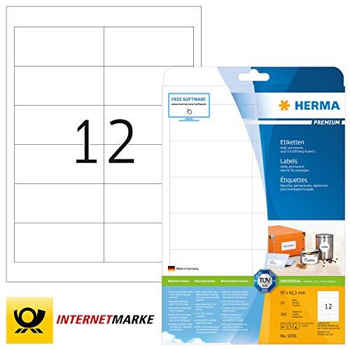 HERMA 5056 Universal Etiketten DIN A4 (97 x 42,3 mm, 25 Blatt, Papier, matt) selbstklebend, bedruckbar, permanent haftende Adressaufkleber, 300 Klebeetiketten, weiß