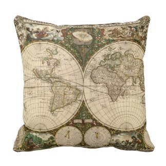 ZHIZIQIU Antique World Map by Frederick de Wit Throw Pillow VV-364 Polyester Decorative Pillowcase Cushion Cover for Sofa Pillow Case 18 X 18 Inch