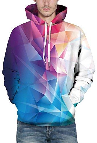 EmilyLe Herren digitaldruck Galaxy Bunt Sweatshirt Langarm Kapuzenjacke mit Tier Muster Frühling Jumper Fashion Pullover Bunt Kristall
