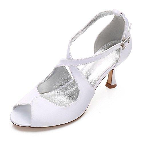 L@YC Tacchi da Donna Primavera/Estate/17061-33/Tacchi Autunno/Matrimonio Peep Toe in Seta/Festa e Sera White