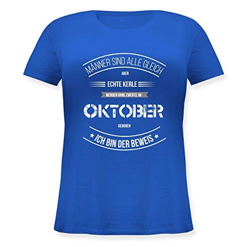 Geburtstag - Echte Kerle Werden IM Oktober Geboren - Lockeres Damen-Shirt in Großen Größen mit Rundhalsausschnitt Blau