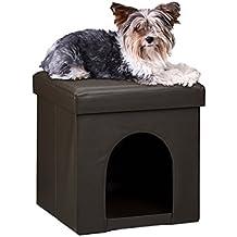 Relaxdays – Asiento con casa para mascotas hecho de cuero artificial con medidas 38 x 38 x 38 cm peso 2.5 Kg banco taburete reposapies, color marrón