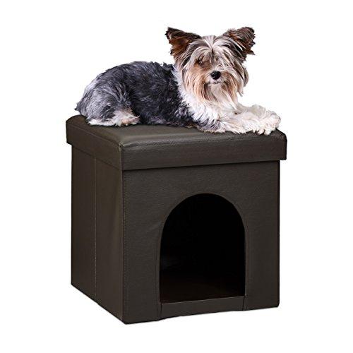 Relaxdays Hundebox Sitzhocker HBT 38 x 38 x 38 cm stabiler Sitzcube mit praktischer Tierhöhle für Hunde und Katze aus hochwertigem Kunstleder und Deckel zum Abnehmen für Ihren Wohnraum, braun