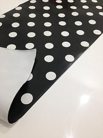 & Noir à pois blanc-Nappe en toile cirée PVC 200