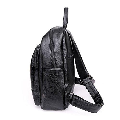 Donne Trend Borsa A Tracolla Grande Capacità PU moda Zaino Da Viaggio Black
