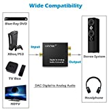 DAC Digital to Analog Converter Audio Adapter RCA L/R 3.5mm Output Stereo with Optical Cable for Headphone PS3 Xbox 360 HDTV Blue RAY DVD Sky HD Apple TV