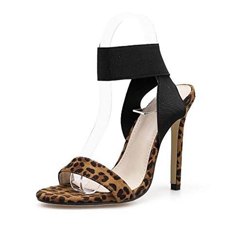 Leopard-print-slingbacks (Mamrar Frauen Pump 11.5Cm Stiletto High Heel Sandalen Sexy Open Toe Leopard Print Elastic Band D ' Orsay Slingbacks Dress Schuhe Eu Size 34-40,Black,37EU)