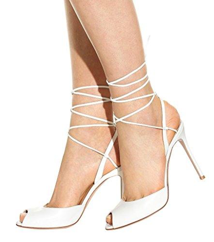 Kolnoo Femmes Talons hauts fabriqués à la main Lacets Sexy Party Summer Peep Toe Prom Sandales white