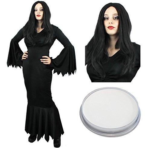 Mit Halloween Schwarzem Kostüme Diy Kleid (GOTHIC FAMILIE AUS DEM HEERENHAUS BEKANNT AUS FILM UND FERNSEHEN - TOLLE FAMILIEN VERKLEIDUNG FÜR HALLOWEEN ODER KARNEVAL/FASCHING - FANCY DRESS COSTUMES BY ILOVEFANCYDRESS® - DIE DAME DES HAUSES KOSTÜME)
