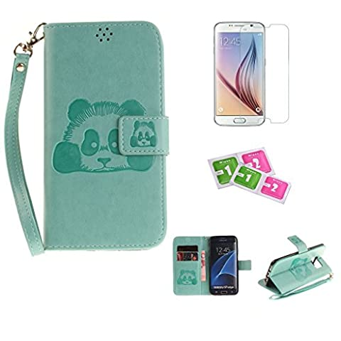 Samsung Galaxy S7Edge Case, JGNTJLS [New Style for SS/AW] [with Free Tempered Glass Screen Protector and Cleaning Paper] Cute, Stylish, Embossing-Pattern(Pure-Colorful, Artificial-Wrinkle Design), PU Leather-Shell(Silky Touch Fully), Internal-TPU(Soft and Smooth), [High Quality Colorful Lanyard Strap] Flip Wallet Card Slot Smart Stand Cover Ultra Slim Protective Folder Case Perfectly Fit For Samsung Galaxy S7Edge 5.5