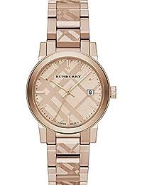 Ladies Burberry el Ciudad grabado Check reloj bu9039