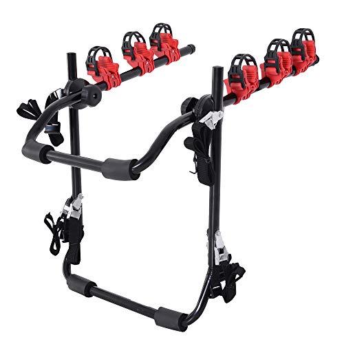 HOMCOM Fahrradheckträger für 3 Fahrräder Fahrradträger Heckträger faltbar mit Sicherheitsgurte Metall + Kunststoff -