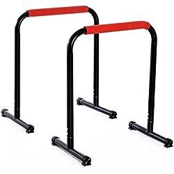 Homcom Barres à dips Barres de Musculation Fitness poignées ergonomiques et Pieds antidérapants Noir et Rouge