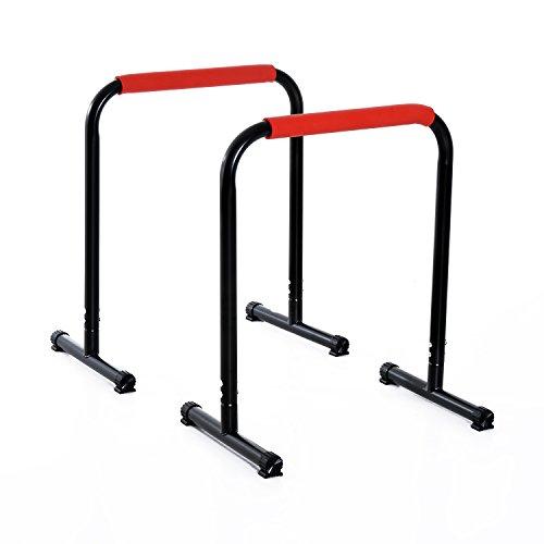 Homcom Barres à dips Barres de Musculation Fitness poignées ergonomiques et Pieds antidérapants Noir et Rouge Neuf 26