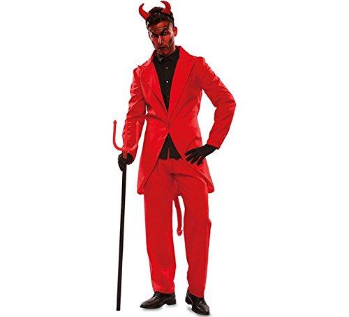 Kostüm Party Und Hölle Himmel - EUROCARNAVALES Herren Kostüm Teufel Lucifer rot Anzug Satan Halloween Fasching Karneval (M/L)