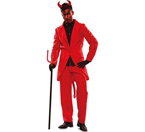 EUROCARNAVALES Herren Kostüm Teufel Lucifer rot Anzug Satan Halloween Fasching Karneval (M/L)