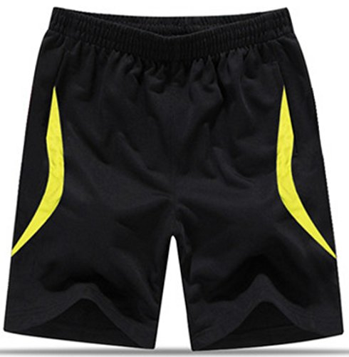 Men's Knee Length Cotton Fashion Running Shorts black 06