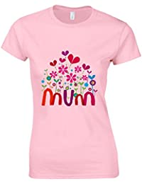 Mum Kids Design Mothers Day Womans Cut Shirt Top