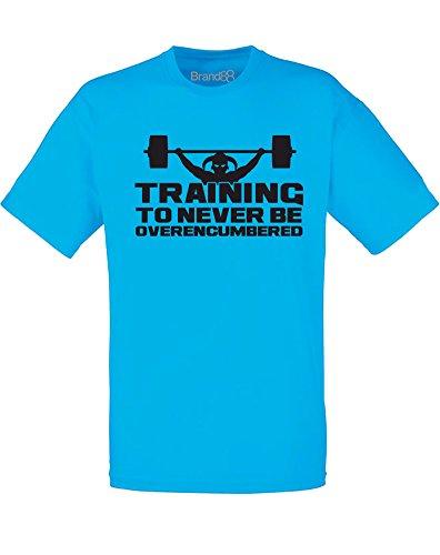 Brand88 - Brand88 - Training to be Never Overencumbered, Mann Gedruckt T-Shirt Azurblau/Schwarz