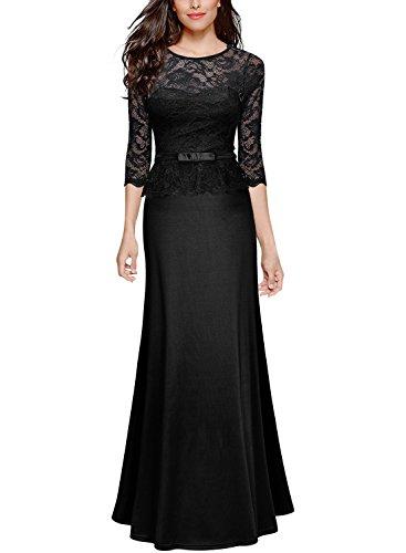 Miusol Damen Elegant Damen Abendkleid 3/4 Arm Spitzen Kleid Brautjungfer Langes Cocktailkleid Schwarz XXL