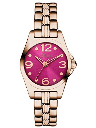 s.Oliver - Reloj de cuarzo para mujer, correa de aleación color oro...