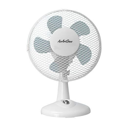 AirArtDeco Ventilateur de Table Personnel 9 Pouces | 2 Vitesses | Automatique Oscillant 80° | Ø23 CM | 30W |Pour Maison, Table, Bureau(Blanc)